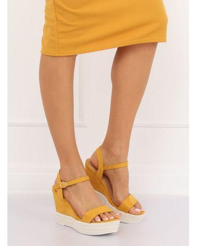 Sandałki na koturnie żółte JS-2952 YELLOW