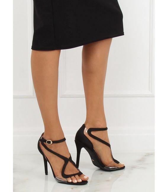 Sandałki na szpilce czarne 1442 BLACK