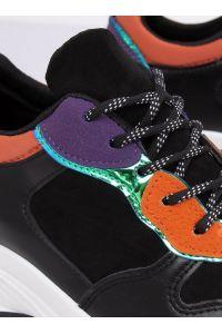 Buty sportowe czarne CB-19056 BLACK/ORANGE