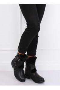 Botki z futerkiem czarne 1061A-PA BLACK