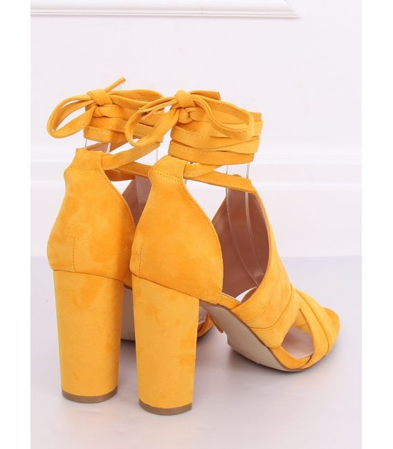 Sandałki wiązane na kostkę miodowe NS112P YELLOW