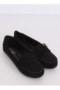 Mokasyny damskie klasyczne czarne 77-202 BLACK