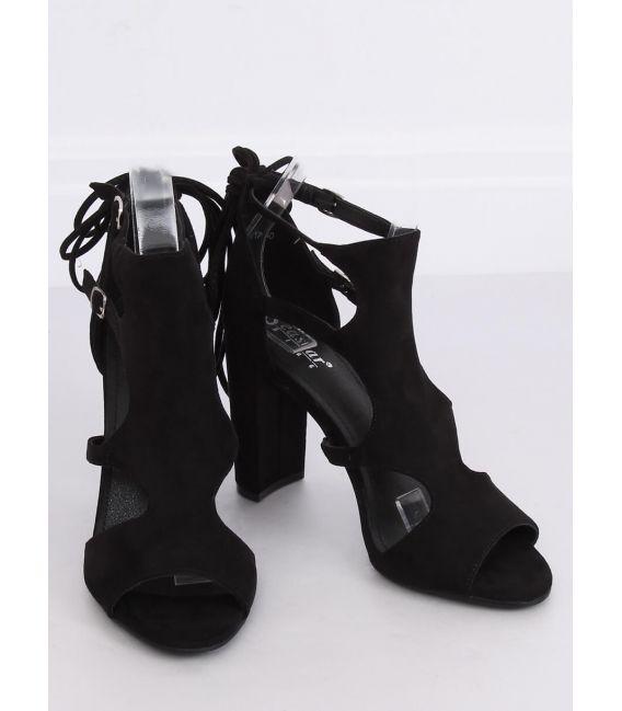 Sandałki na obcasie czarne NS111P BLACK
