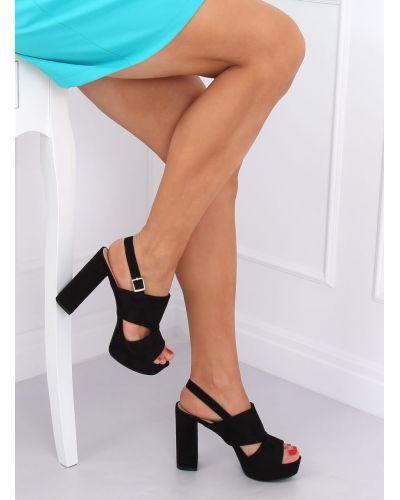 Sandałki na słupku czarne 9R02 BLACK