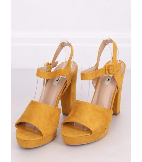 Sandałki na obcasie miodowe 9R16 YELLOW