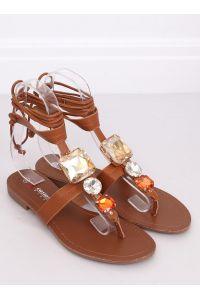 Sandałki japonki z kamieniami camel JH126P CAMEL