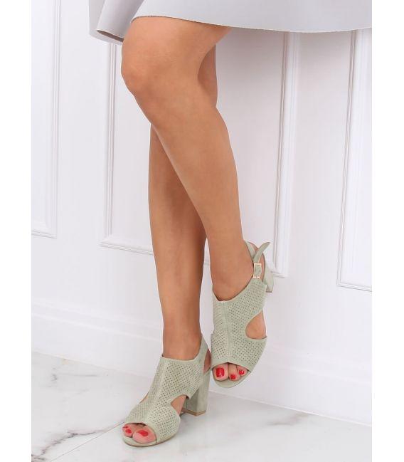 Sandałki na obcasie seledynowe 99-33A GREEN