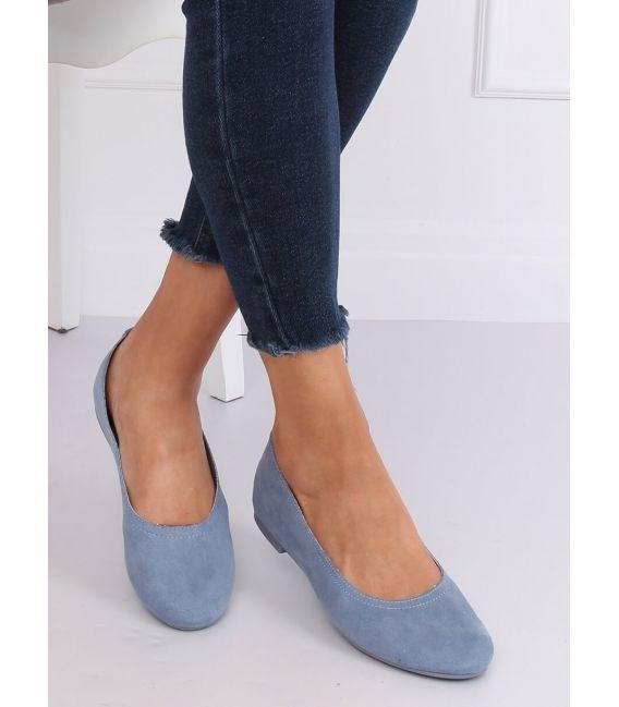 Miękkie baleriny damskie niebieskie NK17P BLUE