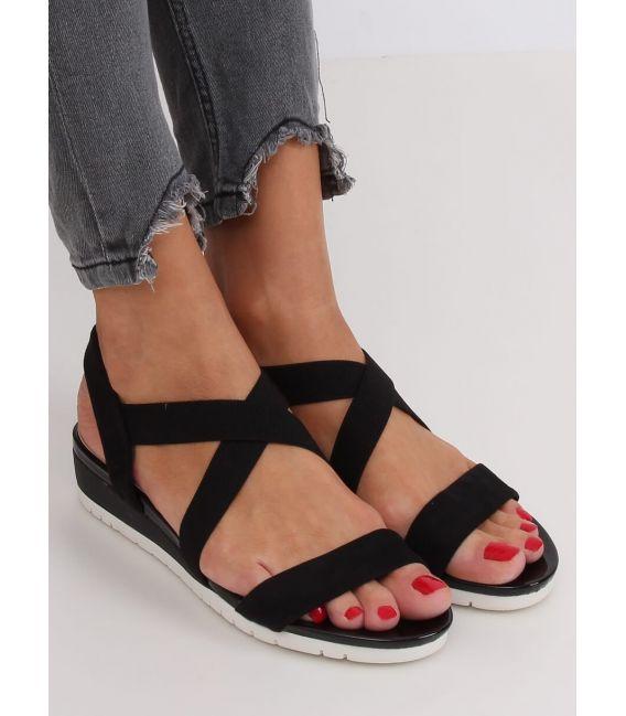 Sandałki na niskim koturnie czarne NS116P BLACK