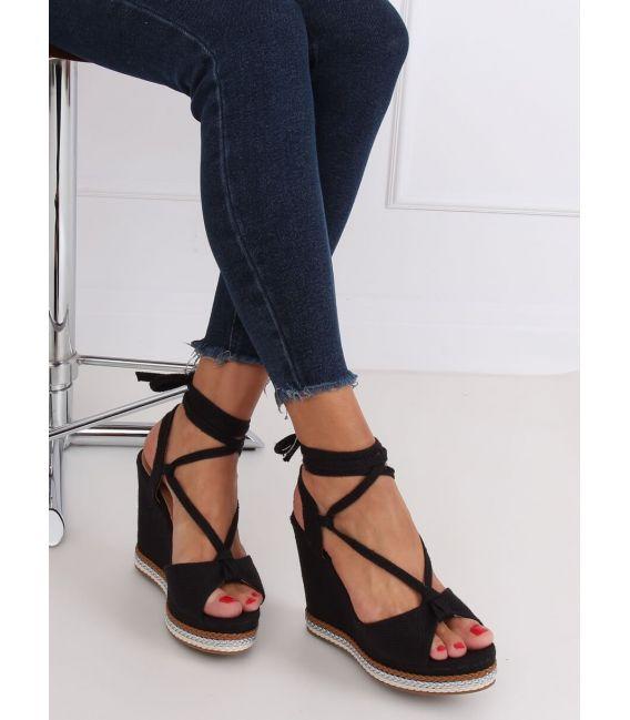 Sandałki na koturnie czarne GP07 BLACK