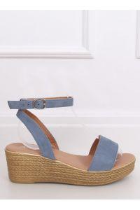 Sandałki na koturnie niebieskie 019-18 BLUE