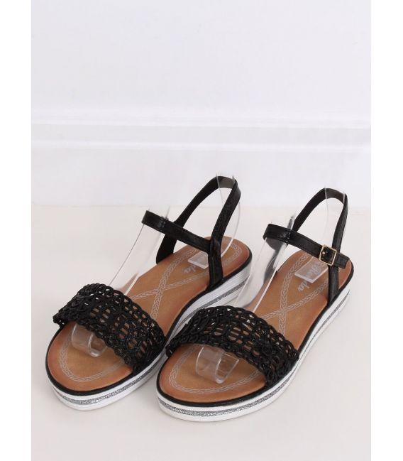 Sandałki damskie czarne 35-197 BLACK