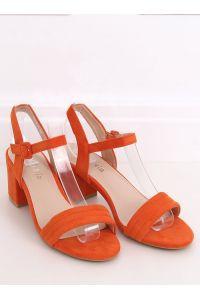 Sandałki na obcasie pomarańczowe 99-61A ORANGE