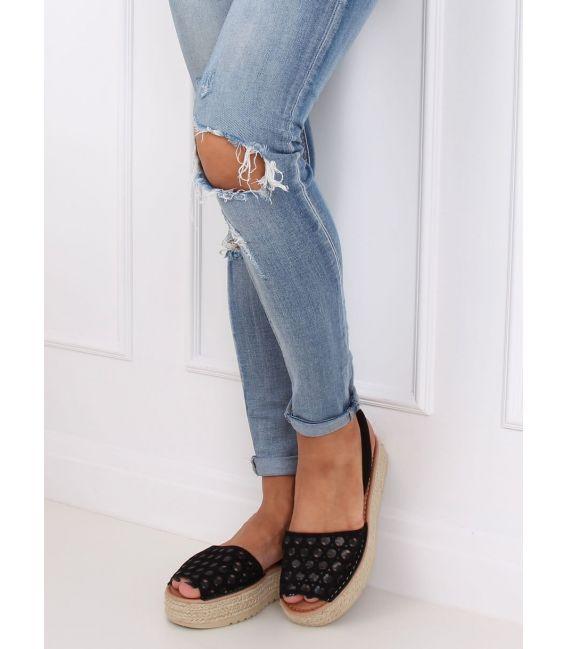 Sandałki espadryle ażurowe czarne WH931 BLACK