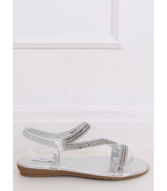 Sandałki asymetryczne srebrne KM-33 SILVER