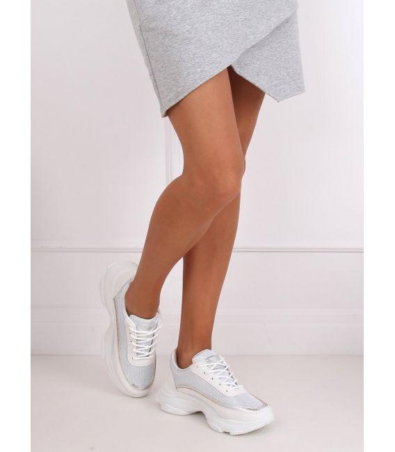 Buty sportowe damskie biało-srebrne 3178 SILVER