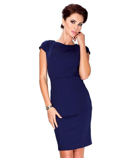 37-2 Elegancka sukienka z krótkim rękawkiem - Granatowa