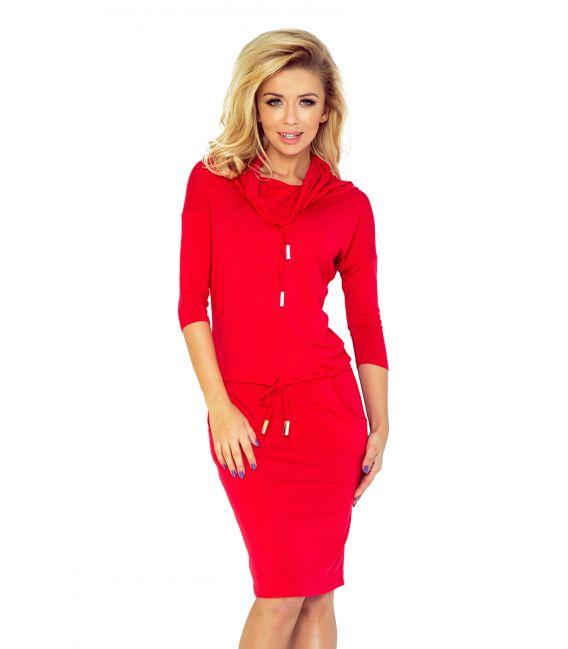 44-13 Sukienka sportowa z golfem - czerwony