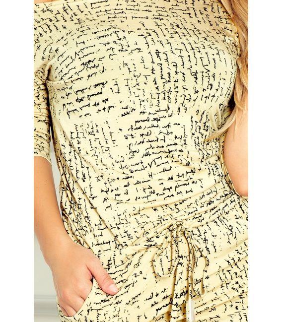 13-36 Sukienka sportowa - Papirus napis + beżowy