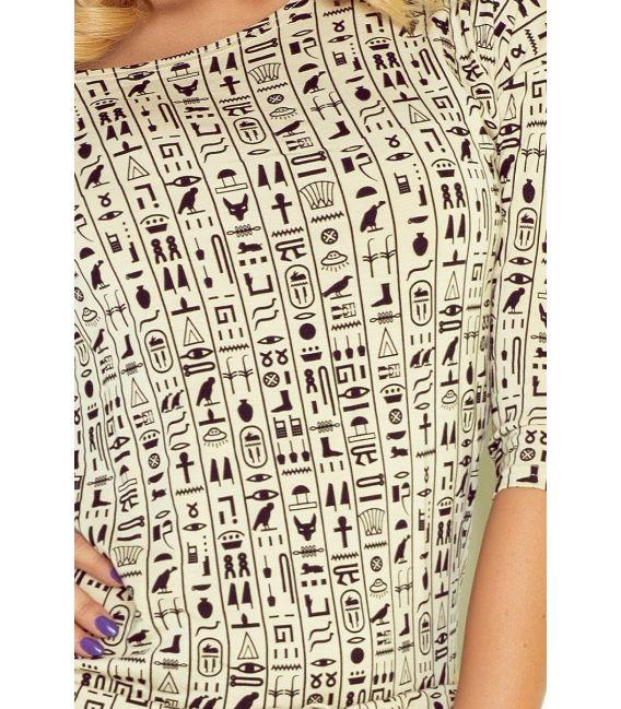 13-37 Sukienka sportowa - beżowe egipskie znaki