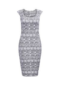 53-14 Dopasowana sukienka - ecru + etniczne granatowe wzory