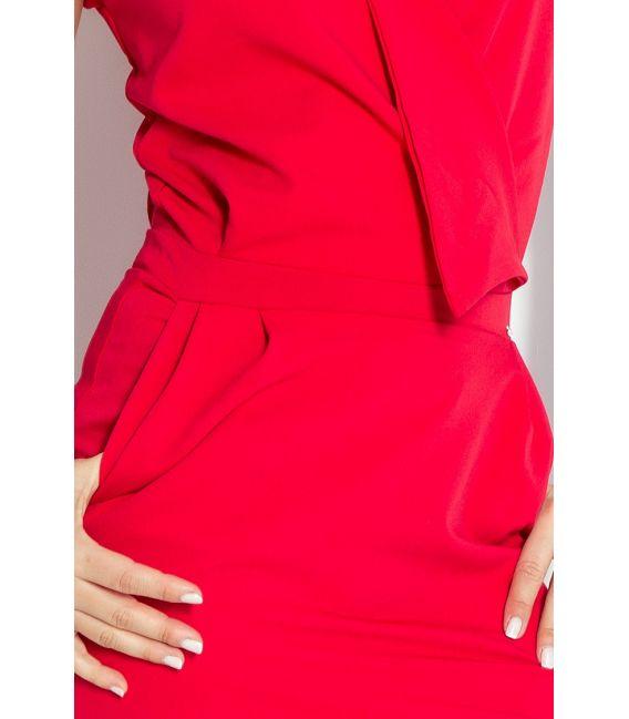 94-2 Sukienka z zakładanym dekoltem - CZERWONA