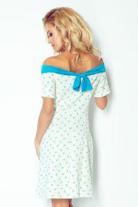 100-1 Sukienka z motywem marynarskim i kokardką - ECRU+niebieski