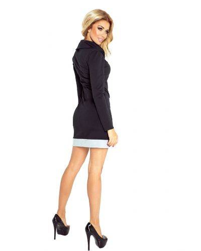 129-2 JUSTYNA sukienka z trzema zamkami - CZARNA + szare zamki