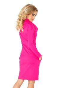 131-6 Sukienka z GOLFEM - grube punto - MALINA