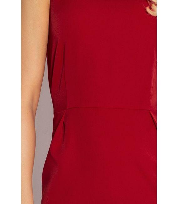 103-4 KLASYCZNA sukienka z zakładkami w pasie - BORDO