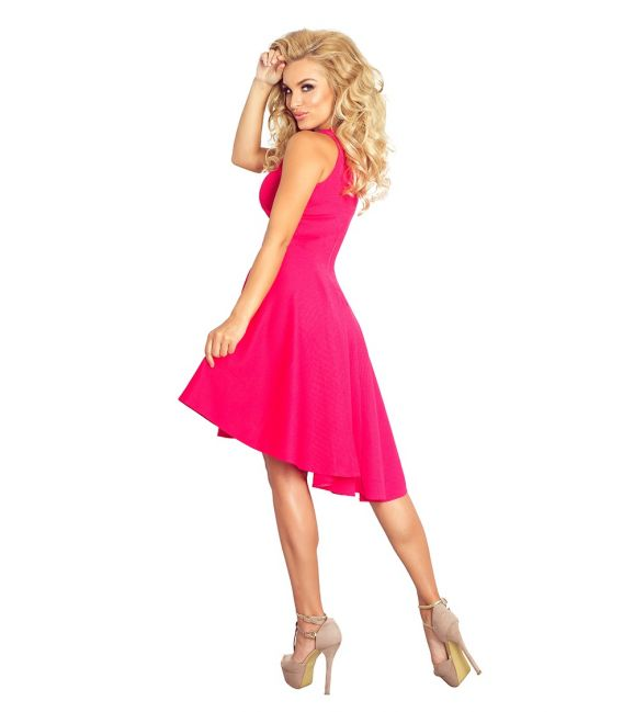 66-3 Gruba Lacosta - Ekskluzywna sukienka z dłuższym tyłem - MALINA