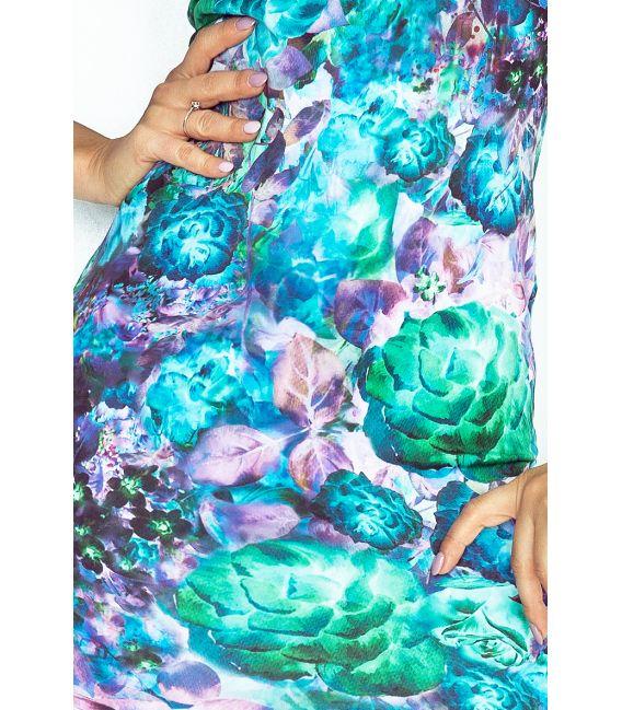 132-7 Sukienka z dziubkiem - KWIATY art. ZIELONE