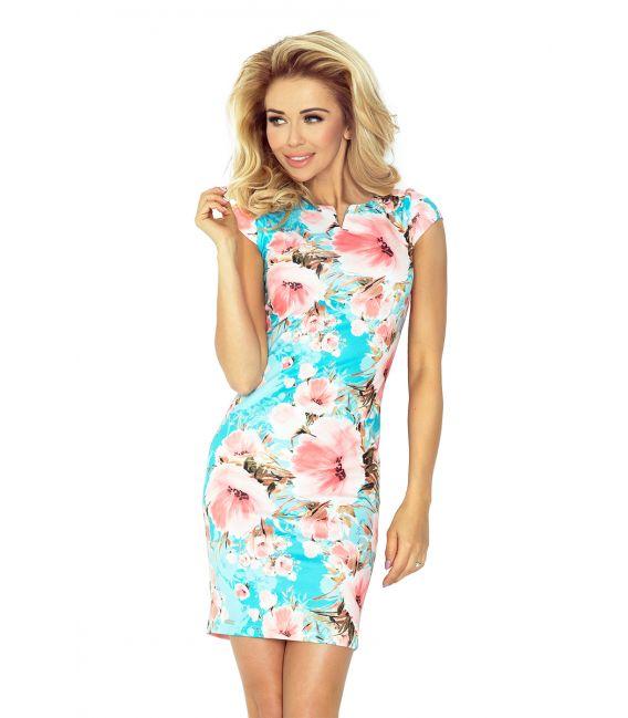 132-8 Sukienka z dziubkiem - KWIATY BRZOSKWINIOWE NA TURKUSOWYM TLE