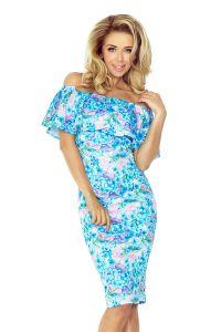 138-5 Sukienka hiszpanka - NIEBIESKIE DROBNE KWIATY