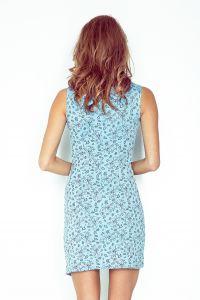 MM 004-5 Sukienka asymetryczna z lamówką - BŁĘKITNA w czarne kwiaty - BIG SALE! %