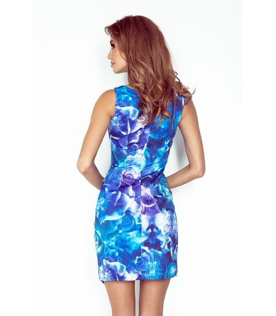 MM 004-1 Sukienka asymetryczna z lamówką - DUŻE NIEBIESKIE KWIATY ART