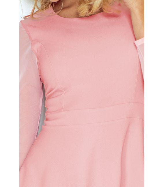 141-7 Sukienka z TIULOWYMI rękawkami - PASTELOWY RÓŻ