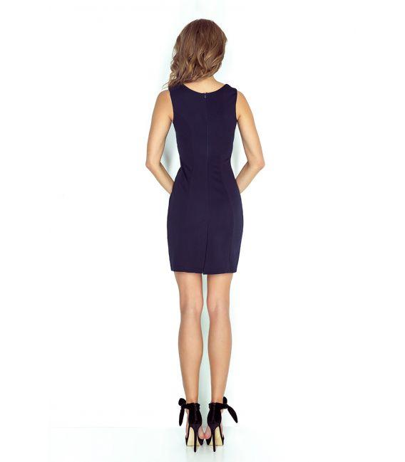 MM 005-2 Elegancka sukienka z klamerką - GRANATOWA