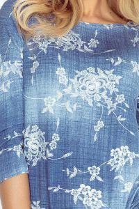 13-56 Sukienka sportowa - Wiskoza - CIENIOWANY NIEBIESKI JEANS - drobne kwiaty