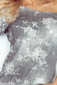 13-57 Sukienka sportowa - Wiskoza - CIENIOWANY SZARY JEANS - drobne kwiaty
