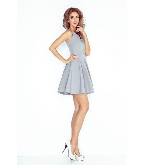 MM 014-3 Sukienka z koła - dekolt serduszko - SZARA