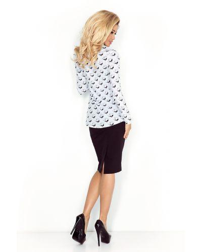 MM 018-5 Koszula z KIESZONKAMI - biała + czarne KOTY