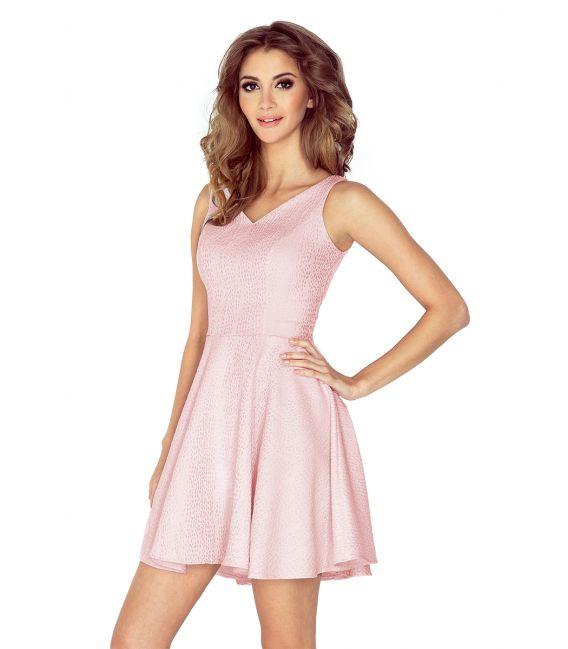 MM 014-5 Sukienka z koła - dekolt serduszko - ŻAKARD ŁEZKA - pastelowy róż - SALE %