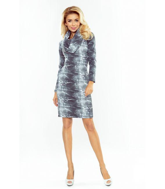 131-7 Sukienka z GOLFEM - PRZECIERANY SZARY JEANS