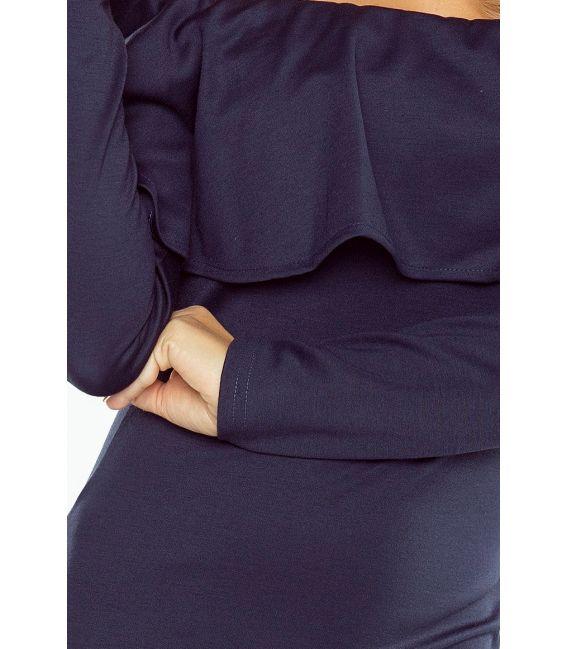 156-1 Sukienka hiszpanka z DŁUGIM rękawkiem - GRANATOWA