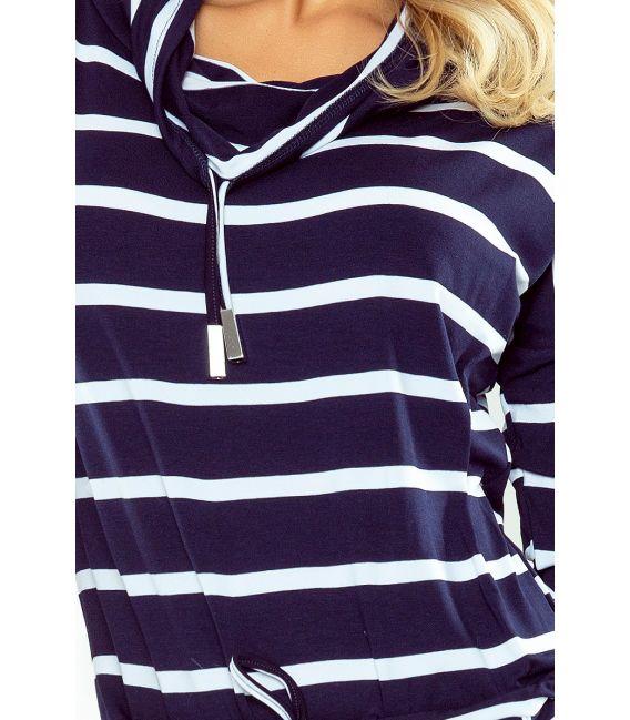 44-16 Sukienka sportowa z golfem - PASKI GRANATOWE