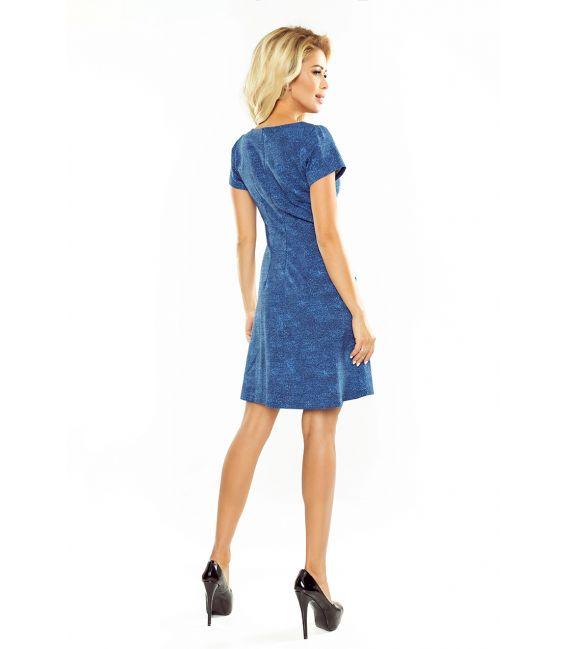 155-1 Sukienka TRAPEZOWA z kieszonkami - JEANS JASNY NIEBIESKI