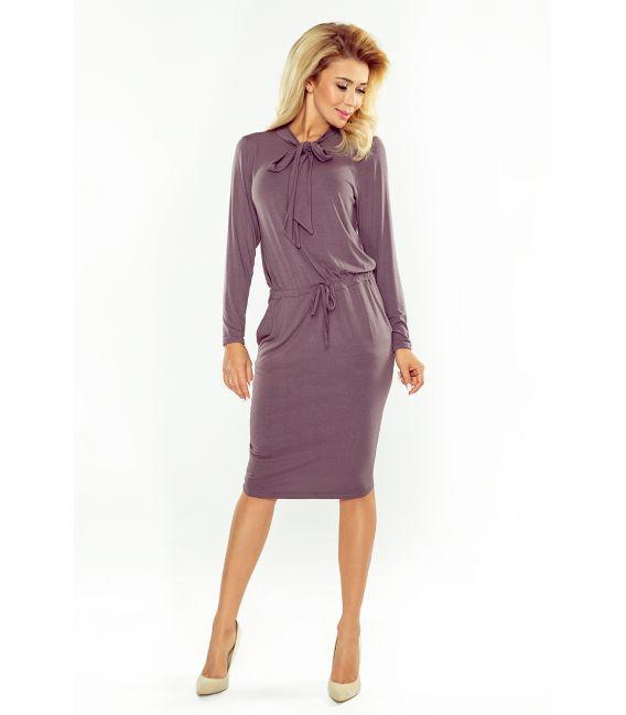 171-1 Sukienka z wiązaniem pod szyją i długim rękawem - JASNA ŚLIWKA