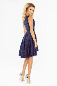 175-3 Wyjątkowa sukienka z dłuższym tyłem - żakard kółeczka GRANATOWA