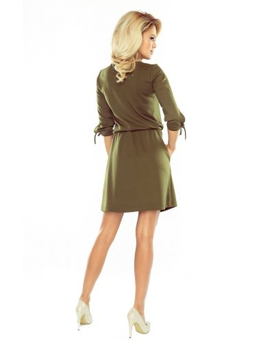 176-2 EWA - sukienka sportowa z wiązaniami na rękawkach - KHAKI zielony militarny